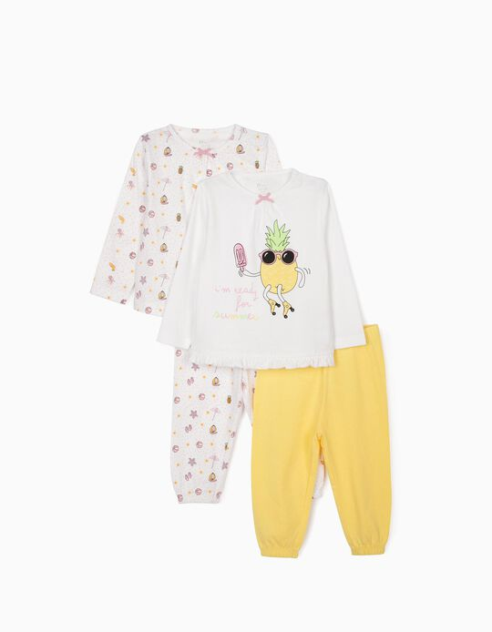 2 Pyjamas for Baby Girls, 'Summer', Pink/White