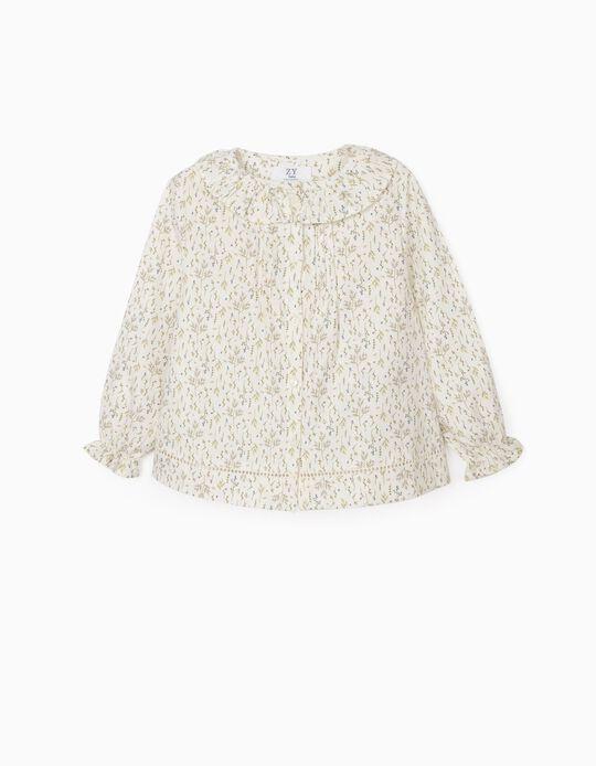 Blusa Floral para Bebé Menina, Branco