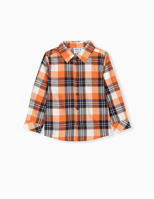Chequered Shirt for Babies, Orange/Blue