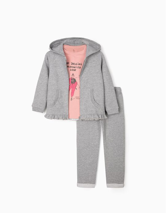 Tracksuit for Girls 'Fashionista', Grey/Pink