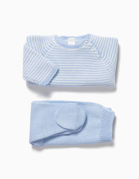 Knit Seamless Set for Newborn Babies, Blue