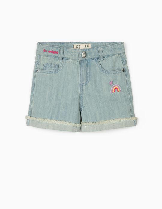 Denim Shorts for Girls 'Rainbow', Light Blue