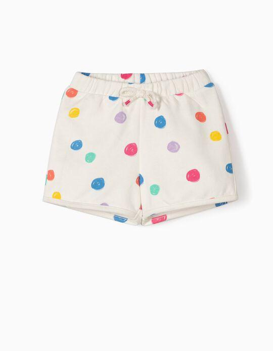 Calções para Bebé Menina com Pintas Coloridas, Branco