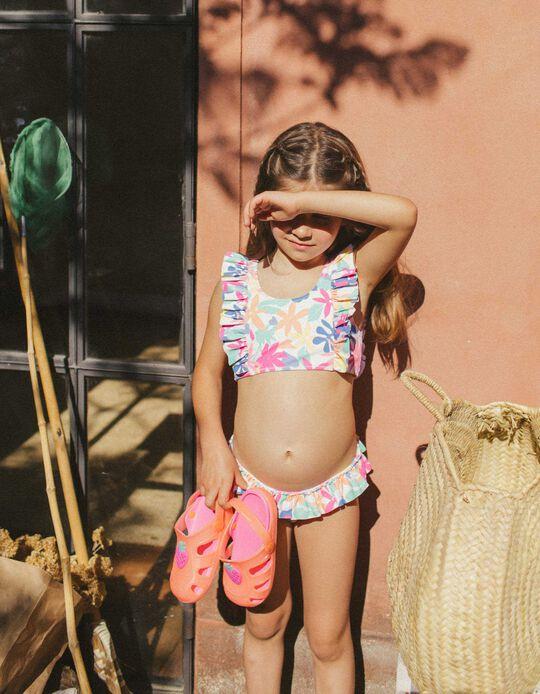 Bikini for Girls, UV 80 Protection, 'Flowers', White