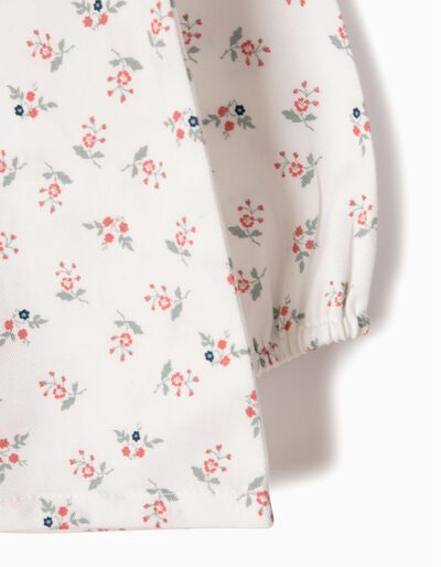 Blusa Fluida Sarja Flores Rosa