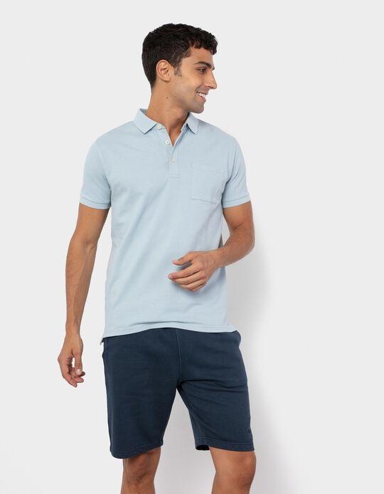 PiquéKnit Polo Shirt for Men, Light Blue