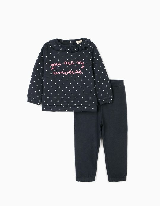 Tracksuit for Baby Girls 'My Universe', Dark Blue