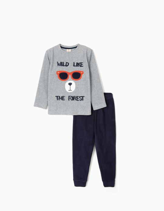 Polar Fleece Pyjamas for Boys 'Wild', Grey/Dark Blue