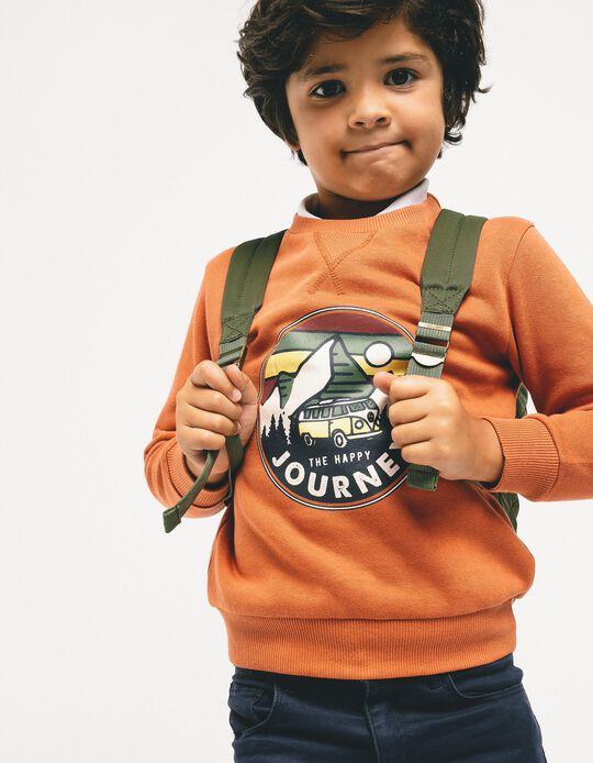 Sweatshirt for Boys 'The Happy Journey', Dark Orange