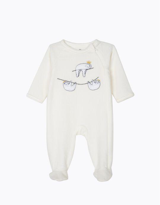 Babygrow de Veludo para Recém-Nascida 'Queen Sloth', Branco