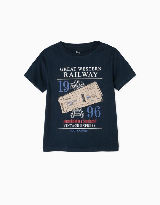 T-shirt para Menino 'Vintage Train', Azul Escuro