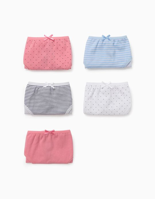 5 Briefs for Girls, 'Dots & Stripes', Multicoloured