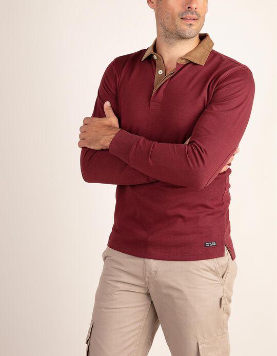 Polo shirt with corduroy collar