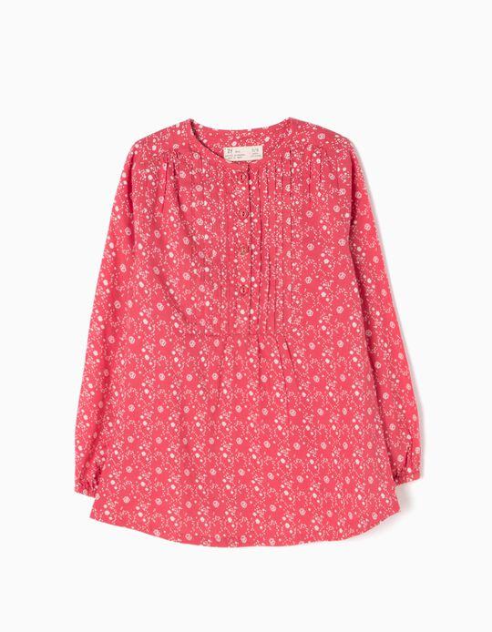 Blusa Pregas e Flores Rosa