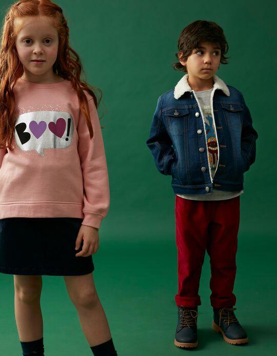 Sweatshirt Estampado Corações, Menina, Rosa Claro
