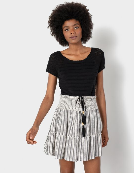 Skirt with Elasticated Waist, Striped