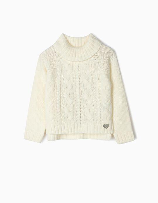 Turtleneck Knit Jumper for Girls, White