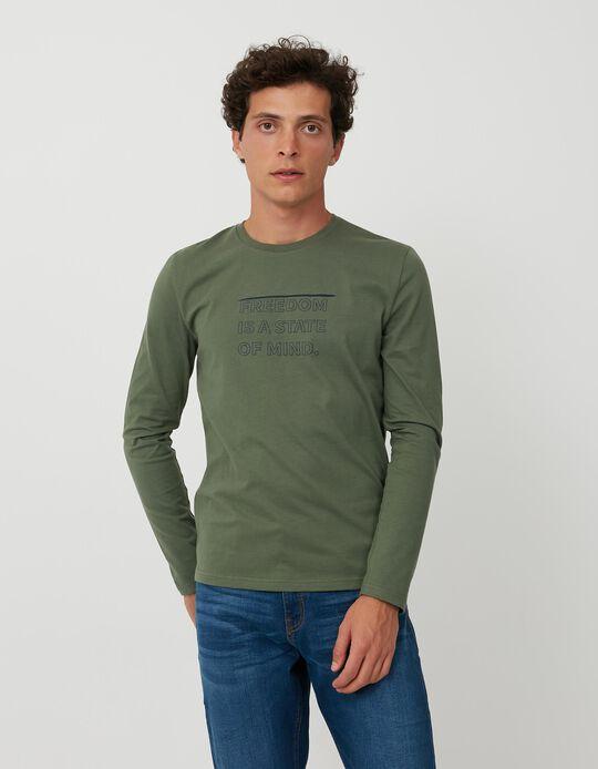 T-shirt Manga Comprida, Homem, Verde