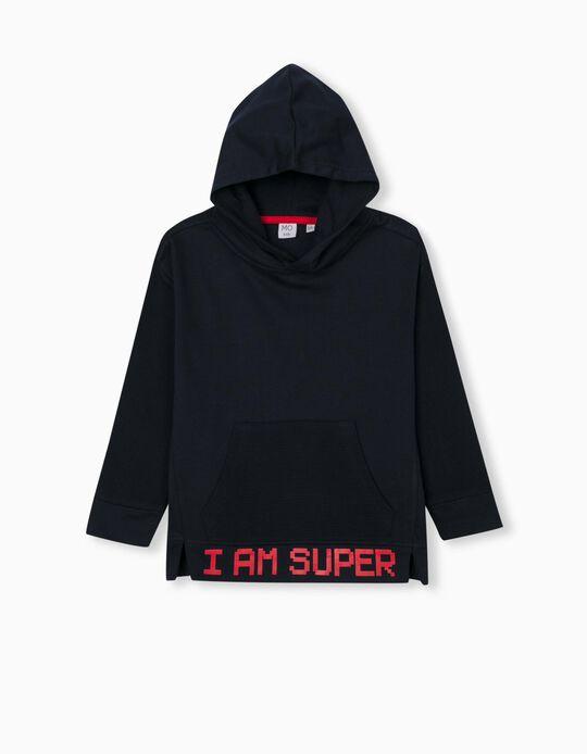 Hooded Sweatshirt for Children, Dark Blue