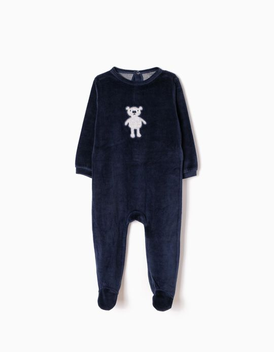 Velour All-In-One for Baby Boys 'Teddy Bear', Dark Blue