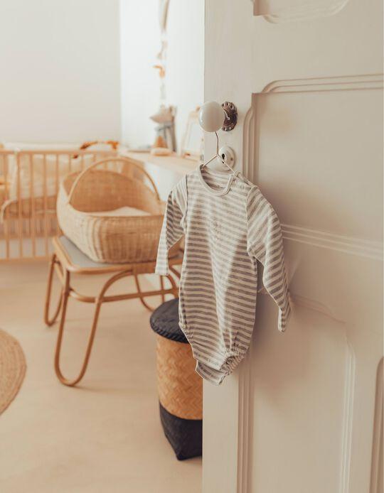 Organic Cotton Bodysuit for Newborn Baby Boys, Grey/White