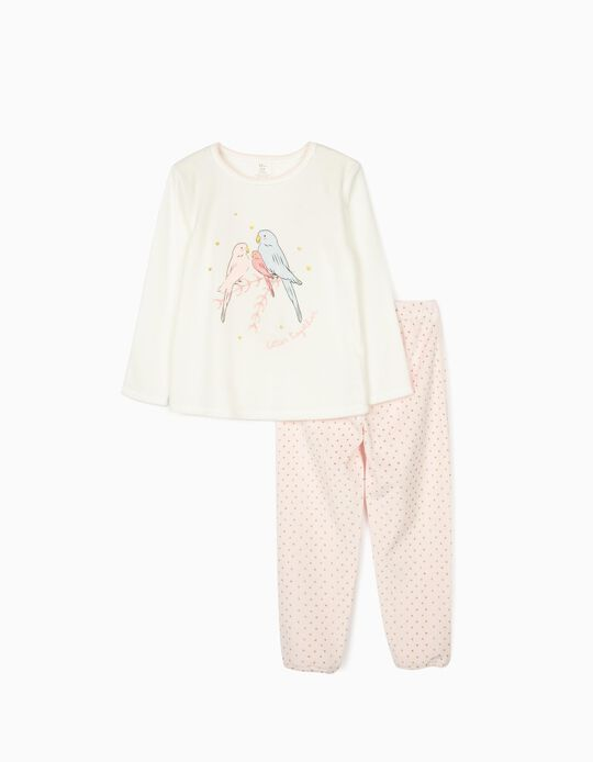Velour Pyjamas for Girls 'Birds', White/Pink