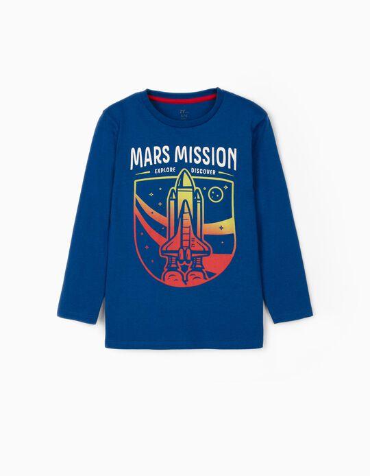 T-shirt Manga Comprida para Menino 'Mars Mission', Azul