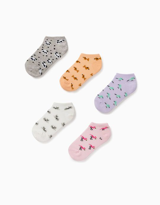 5 Pairs of Ankle Socks for Girls, 'Animals', Multicoloured
