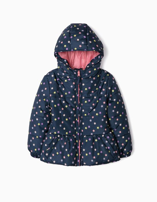 Padded Jacket for Girls 'Stars', Dark Blue