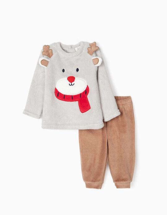 Pyjamas for Baby Boys 'Christmas Bear', Grey/Brown