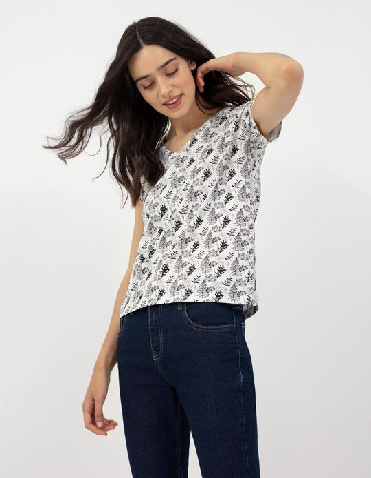 Floral Print T-shirt, White
