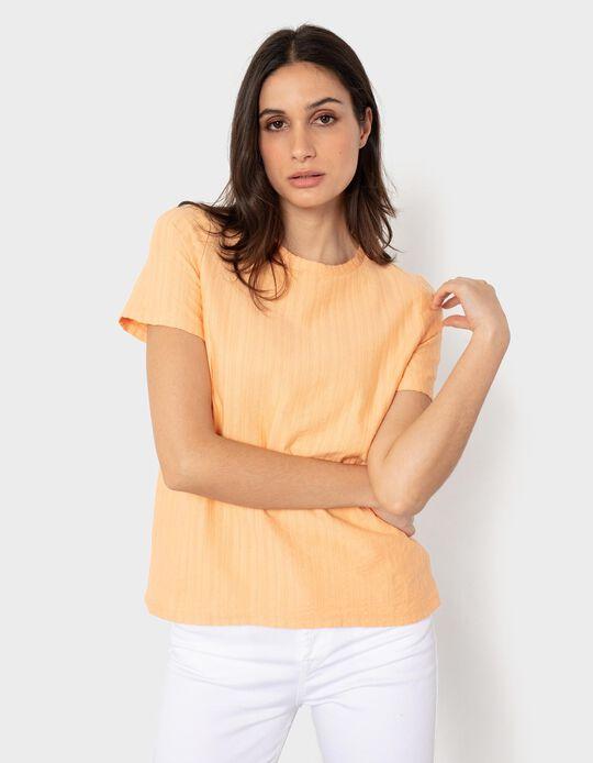 Rib Knit T-shirtfor Women, Orange