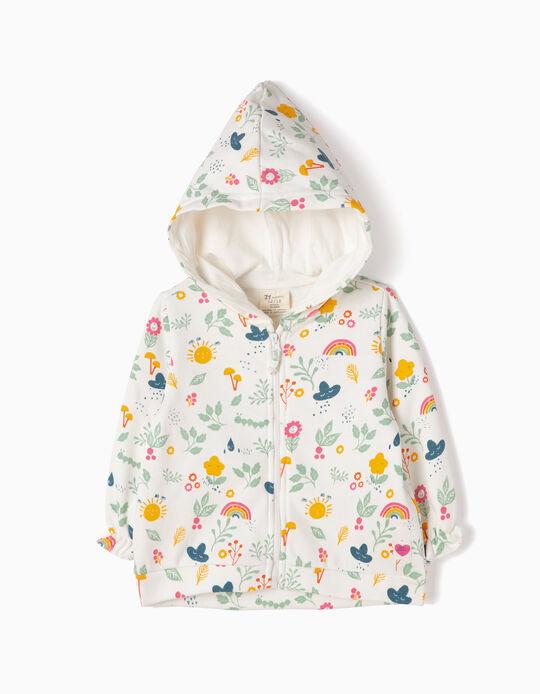 Floral Fleece Jacket for Girls, White