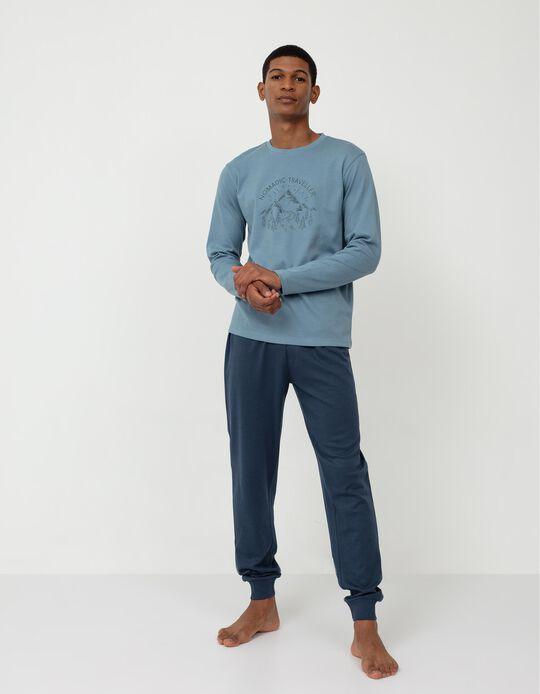 Pijama de Algodão, Homem, Azul