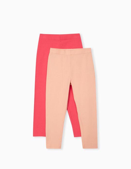 2 Pairs of Leggings for Girls, Pink/ Salmon