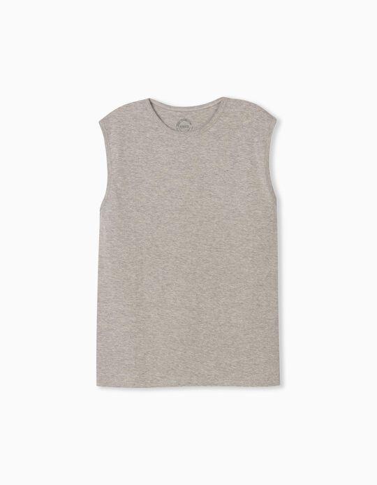 T-shirt Manga Cava, Homem, Cinza