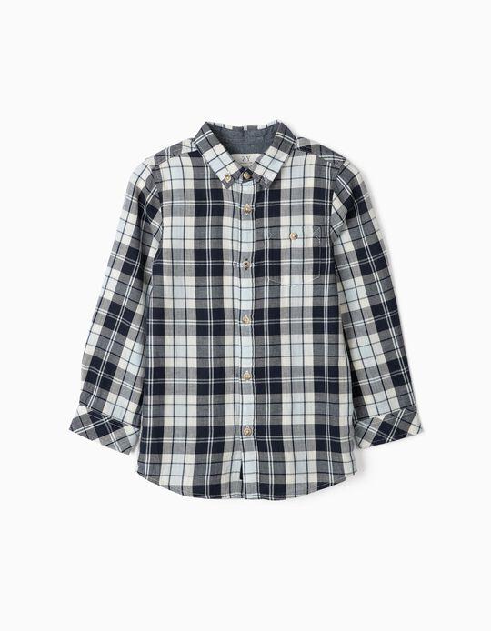 Plaid Shirt for Boys, Blue/White