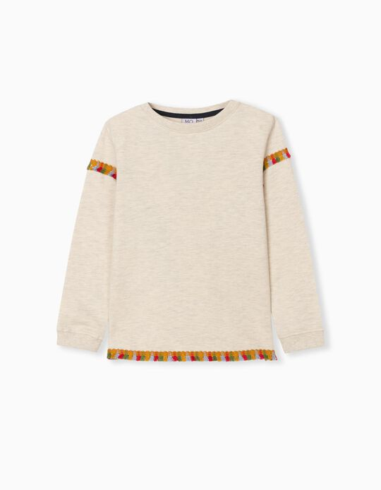 Sweatshirt Franjas, Bebé Menina, Branco