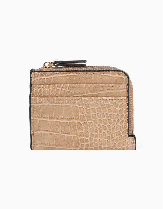 Croc-effect faux leather cardholder