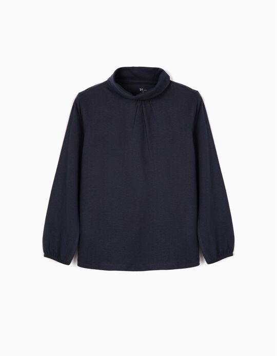T-shirt Manga Comprida para Menina com Gola Alta, Azul Escuro