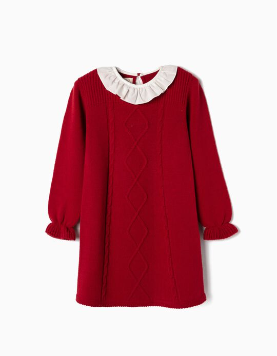 Knit Dress for Girls, Red