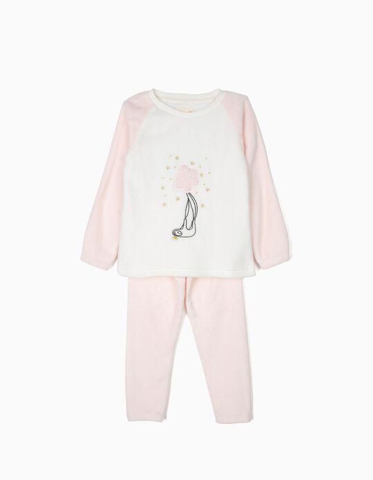 Pijama Polar para Menina 'Queen Sloth', Rosa e Branco