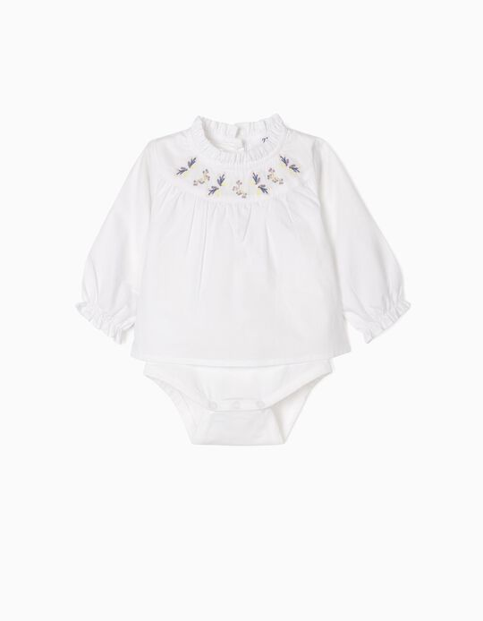Body-Blusa com Bordados para Recém-Nascida, Branco