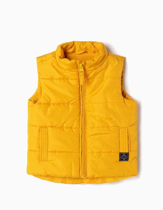 Colete Acolchoado para Bebé Menino, Amarelo
