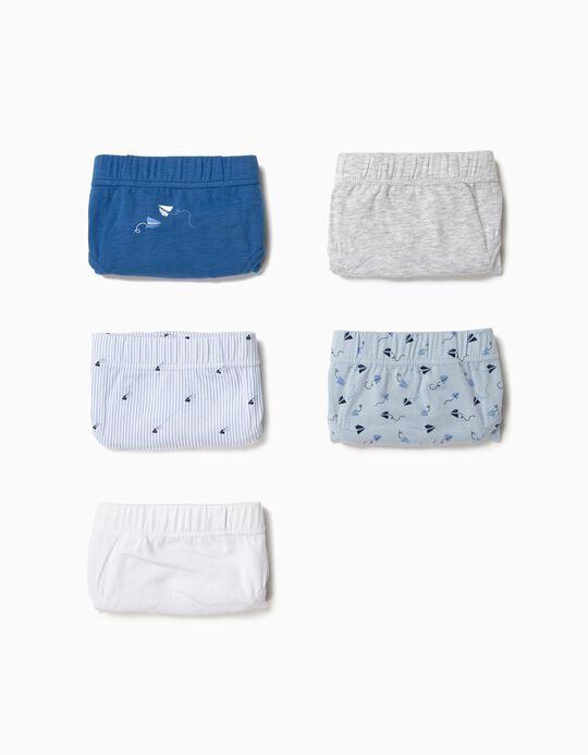 5 Cuecas para Menino 'Paper Plane', Cinza/Azul/Branco