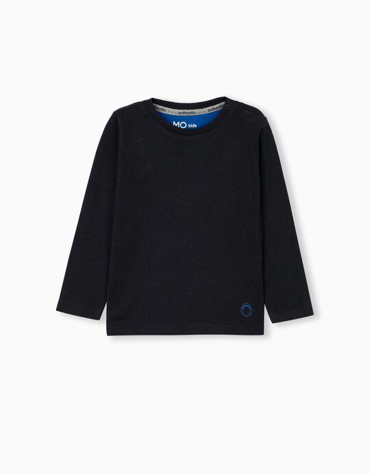 T-shirt Manga Comprida Bebé Menino, Azul-Escuro