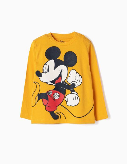 T-shirt Manga Comprida para Bebé Menino 'Mickey' , Amarelo