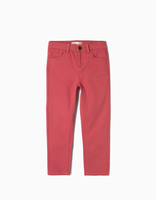 Twill Trousers for Girls, Dark Pink