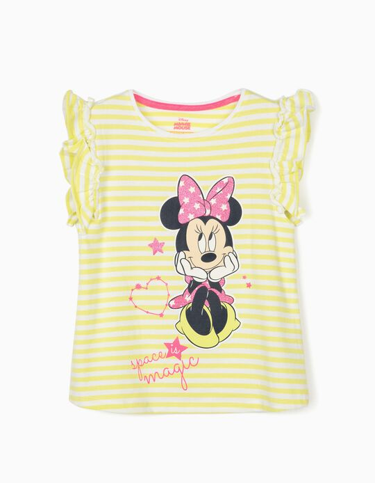 Striped T-Shirt for Girls, 'Minnie Magic', Lime Yellow/White