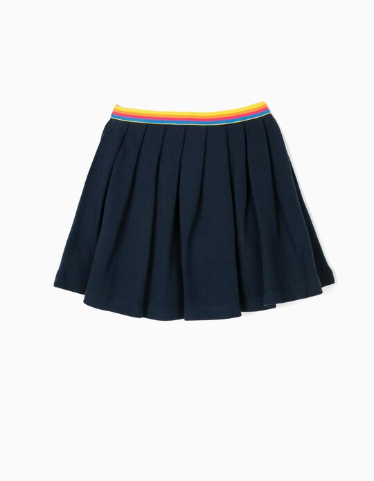 Pleated Skirt for Girls Piquet, Dark Blue